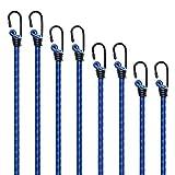 Siumir Cuerdas Elásticas con Ganchos 8 PCS Azul Pulpos Elásticos Transporte 40 cm 60 cm 78 cm 98 cm Bungee Cords para Coche, Camping, Lonas