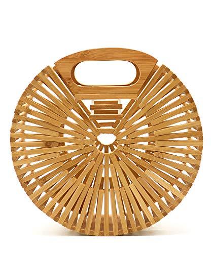 Miuco Women Bamboo Top-Handle Handbags Round Straw Beach Tote Bag Small