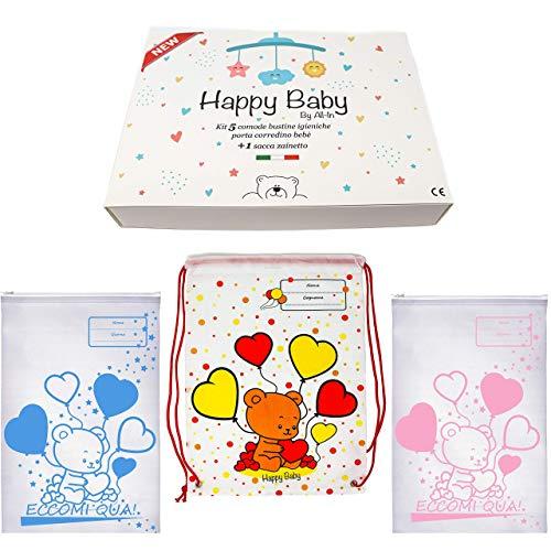 Happy Baby kit Borsa cambio neonato corredo ospedale -buste trasparenti abbigliamento -lista nascita- regalo future mamme (AZZURRO)