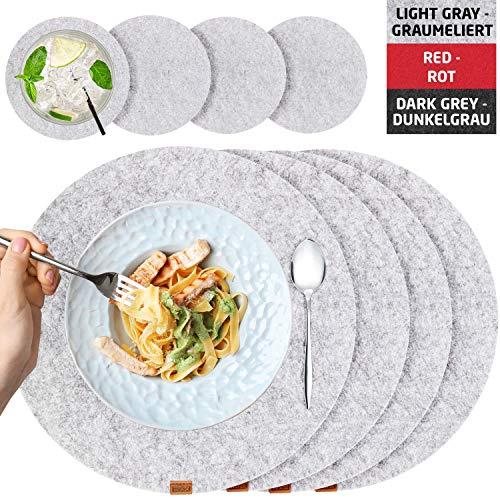 Miqio® - Filz und Leder - Design Platzsets (Rund) - Set mit 4 waschbaren Premium Tischsets 37 cm und 4 Getränkeuntersetzern (Graumeliert)