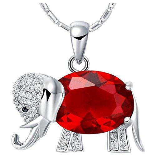 JewelleryClub Collar Elefante 925 Plata Rojo Swarovski Elements Cristal Collar Colgante Granate para Mujer