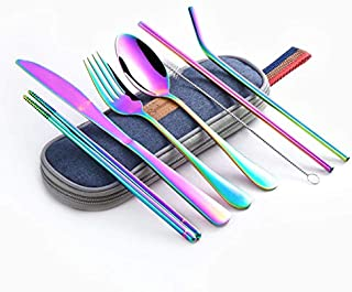 Dinnerware Set Travel Camping Cutlery Set Reusable Silverware with Metal Straw Spoon Fork Chopsticks and Portable Case - lenox dinnerware