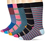 Goodthreads 5-Pack Patterned Socks Casual, Rayas rosas y azules, Talla única, Pack de 5