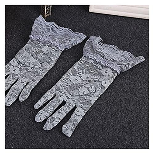 レースの手袋 ブラックホワイトレッドファッション女性レースパーティーグローブ夏のフルフィンガー日焼け止め手袋 (Farbe : 10PCS Grau)