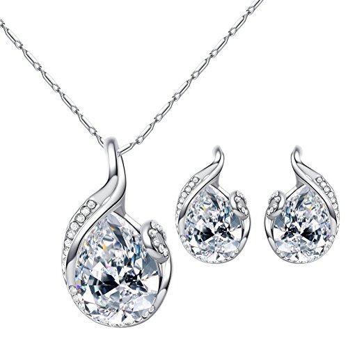 Beuya Mujer Conjunto Joyas Moda Colgantes de Cristal en Forma de corazón Collar Colgante y Pendientes Regalo para Conjunto de Joyas (Plateado)