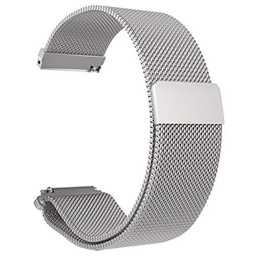 Correa de Reloj de Pulsera de Malla de Acero Inoxidable Reemplazo de Reloj de Correa magnética para Xiaomi Amazfit Bip Reloj Juvenil - Plateado