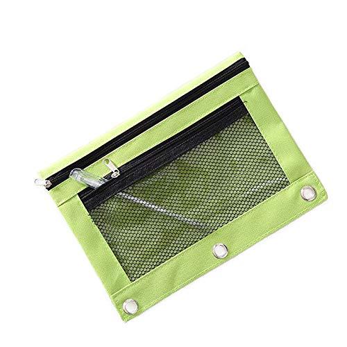 Funny live B5 Size Double Zipper 2 Pocket Pencil Bag, Transparent Mesh File Pouch Case, Zip Binder Pencil Bags Pencil Cases with Rivet Enforced Hole 3 Ring (Green)