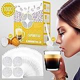 CAPMESSO Coperchi di Fogli di Alluminio Autoadesivo per caffè Capsule NESPRESSO(Silver 1000pcs Foil Lids+6 Capsule +Scoop)