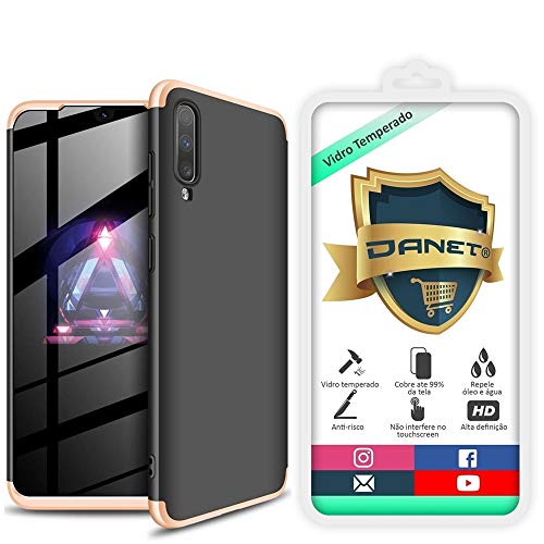 Kit Danet Capa Capinha Anti Impacto 360 Full Para Samsung Galaxy A70 e A70s Tela 6.7Polegadas - Case Acrílica Fosca Com Película De Vidro Temperado (Preta com dourado)