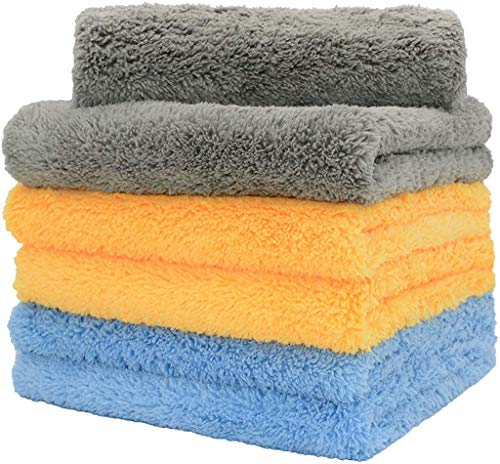 CARCAREZ Microfiber Towels for Cars - 16x16 inch - Plush Edgeless Microfiber Towel - 6 Pack Car Microfiber Towel (Blue, Yellow, Gray)