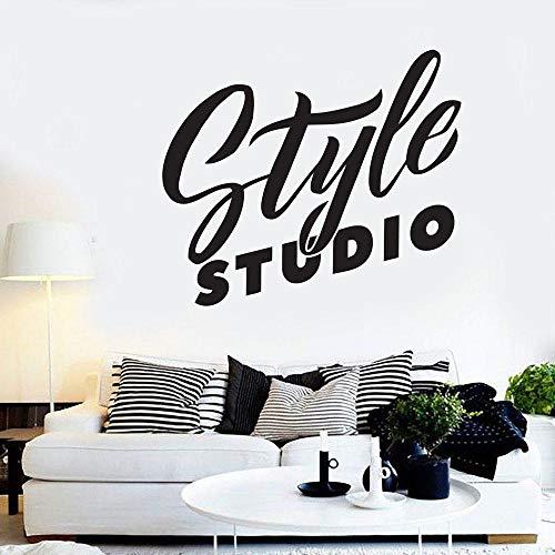 Calcomanía de pared para salón de belleza, pegatinas artísticas para pared, decoración de habitación, estilo de habitación para niñas, estudio, barbería, papel tapiz extraíble-negro_42x36 cm