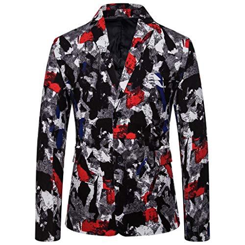 Men's Casual Vintage Turn-Down Collar Long Sleeve Print Floral Suit Coat Jacket