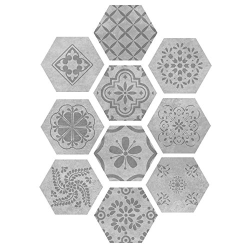 Yubingqin Etiquetas engomadas de Piso Auto Adhesivo Tile de cerámica Pegatinas Impermeables Fondos de Pantalla Art Hexagon No resbalón Calcomanía Cocina DIY Decoración de la casa