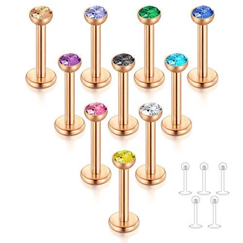 FECTAS 10stk Labret Lippenpiercing Ring Tragus Helix Piercing 6mm Chirurgenstahl Rosegold