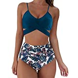 Aniywn Women Cutout One Piece Swimsuits High Waisted Tummy Control Bathing Suit Floral Print Two Piece Swimsuits