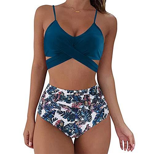 2021 Nuevo Mujer Trajes de Baño Sexy Bikini Mujer Dos Piezas Moda Ropa de Playa Push up Conjunto de Bikinis Color sólido Impresión Cuello Halter Bikini Retro Tankinis Cintura Alta Bañador Beachwear