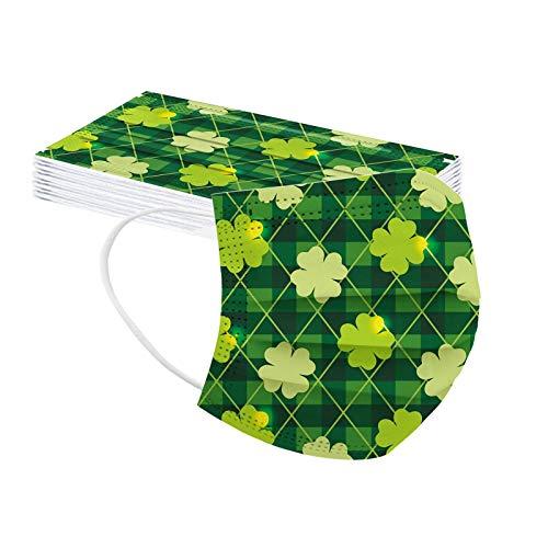 YYQX 10/20/30/50/100 Stück Erwachsene Einweg_3 Lagige Schutz_St. Patrick's Day Drucken_𝐌aske_ Staubdicht Atmungsaktive