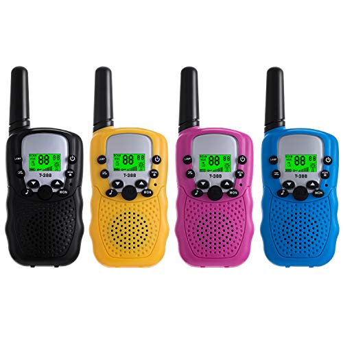 Walkie Talkies for Kids Pack of 4, Long Range 3 Miles in Open Fields, Portable Handheld 22 Channels 2 Way Radio (No Battery, Solid Color)