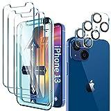 LK Protector de Pantalla Compatible con iPhone 13 6.1 Pulgada,3 Pack Cristal Templado y 3 Pack Protector de Lente de cámara, Doble protección, Kit de Instalación Incluido