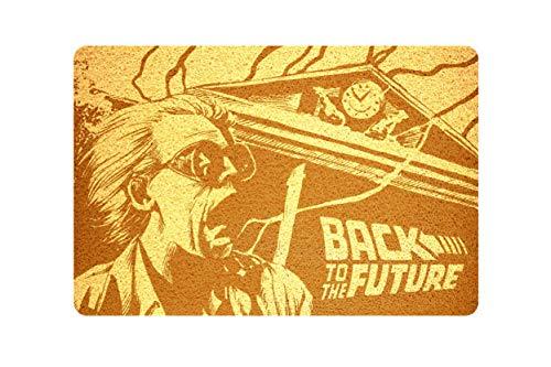 """StarlingShop Felpudo de regreso al futuro con texto """"Back to the Future"""" (Hola al futuro), felpudo de indooor, respetuoso con el medio ambiente, decoración del hogar, regalo de cumpleaños, casa nueva"""