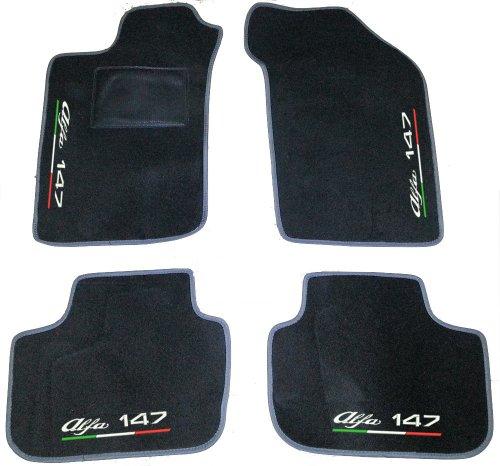 SonCar Set complet de tapis sur mesure pour voiture, produit artisanal 100 % fabriqué en Italie Tapis de voiture sur mesure avec broderie. Blanc