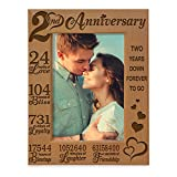 KATE POSH 2nd Anniversary Engraved Picture Frame, 2 years together as Husband and Wife, Boyfriend and Girlfriend, 2 Years of Marriage, Happy second cotton anniversary (4x6-Vertical)