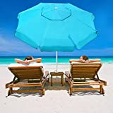 Abba Patio 7 Feet Beach Umbrella with Sand Anchor, Push Button Tilt and Carry Bag, Adjustable Height Fiberglass Rib Patio Umbrella, Turquoise