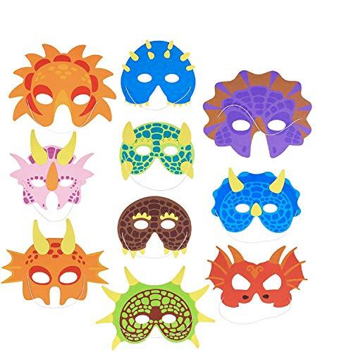 30 Stück Dinosaurier Party Masken für Kinder mit Elastischen Bändern - Dino Tier Kindergeburtstag Kostümparty Maskerade Halloween Cosplay Mitgebsel.