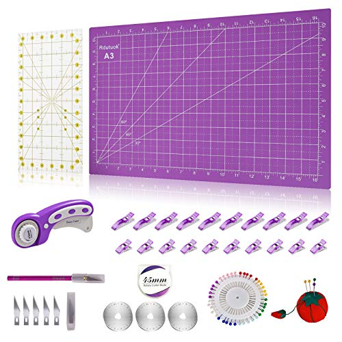 "Rdutuok 45mm Rotary Cutter Set Quilting Kit, 3 Replacement Blades, A3 Cutting Mat(18X12""), Acrylic Ruler,Sewing Pins,Cushion,Craft Knife Set and Craft Clips - Ideal for Sewing,Crafting Purple"
