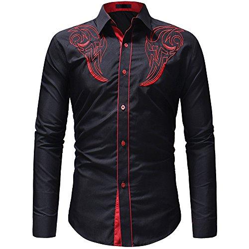 ALIKEEY Herren Herbst Winter Casual Stickerei Pullover Langarm T-Shirt Top Bluse Hemd Langarm/Business Freizeit Hochzeit/Bügelleicht
