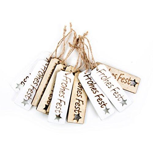 Logbuch-Verlag 10 FROHES FEST Textanhänger weiß natur aus Holz - Weihnachten Geschenkanhänger 9 cm - weihnachtliche Anhänger für Geschenke