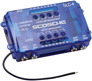 SCOSCHE SLC4 Car Stereo Speaker 4-Channel Audio Lineout Converter/OEM Amplifier Adapter with Adjustable Level Control's