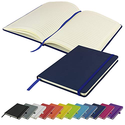 A5 Notebook New Lined Hardback Journal Notepad Note Book Notes Diary Pad...