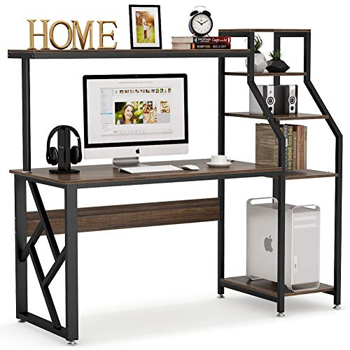 Tribesigns Computer Desk with 4-Tier Storage Shelves, 60 inch Large Rustic Office Desk Computer Table Studying Writing Desk Workstation with Hutch, Bookshelf and Tower Storage for Home Office(Brown)