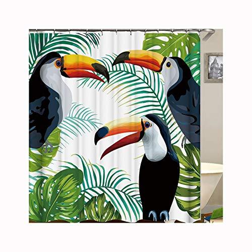 DOLOVE Vintage Bad Vorhang Anti-Schimmel 3 Vögel Badezimmer Duschvorhang Polyester Stoff 150X180 cm
