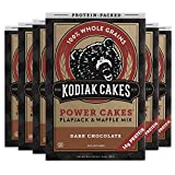You will receive a Pack of (6) Kodiak Cakes Power Cakes, Non GMO Protein Pancake, Flapjack and Waffle Mix, Dark Chocolate, 18 Ounce Made with whole wheat and oat flours, and packed with 14g protein per serving Made with Non-GMO ingredients Up the pro...