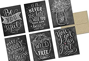 Note Card Cafe Inspirational Greeting Cards with Kraft Kraft Envelopes   36 Pack   Chalkboard Inspirational Quotes   Blank Inside Glossy Finish   for Greeting Cards All Occasions Birthdays