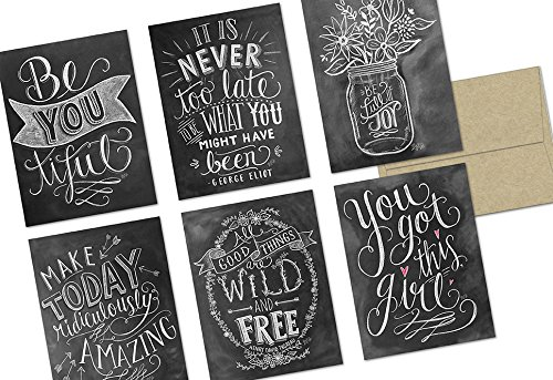 Note Card Cafe Inspirational Greeting Cards with Kraft Kraft Envelopes | 36 Pack | Chalkboard Inspirational Quotes | Blank Inside, Glossy Finish | for Greeting Cards, All Occasions, Birthdays