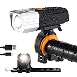 victagen USB Rechargeable Bike Light & Free Taillight,Powerful 1600 Lumens Bike Front and Rear Light,Waterproof Flashlight Bicycle Headlight, Easy to Install Fit All Bicycles MTB Kids Men Road Bike.