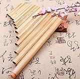 Knoijijuo Pan Tubo 15 Tubo sintonizzabile bambù Naturale Perù Sacchetto comprendeva 15 Tubi Verticali Pan Pipes Instrument Carnival