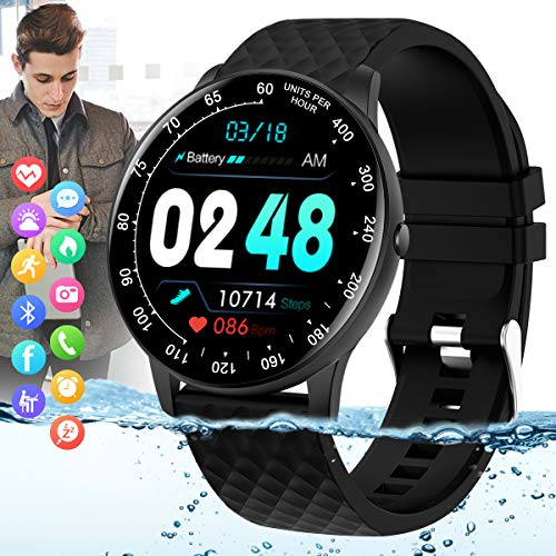 Peakfun Smart Watch,Fitness Watch with Blood Pressure Heart Rate Monitor IP67 Waterproof Bluetooth Smartwatch Android Phones Smart Watch Sports TrackerWatch for Android iOS Phones for Men Women Black