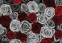 赤灰色のバラの花ビンテージ写真壁紙壁壁画-350x250CM