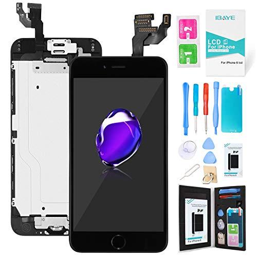Ibaye Schermo per iPhone 6 Nero LCD Display Touch Screen Digitizer Parti di Ricambio (con Home Pulsante, Fotocamera, Sensore Flex) Utensili Inclusi (4,7 Pollici)