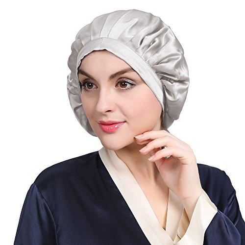 LilySilk LilySilk Seide Schlafmütze Atmungsaktive Nachtmütze Kopfbedeckung mit klassischer und bequemer Form Verpackung MEHRWEG (Silber Grau)