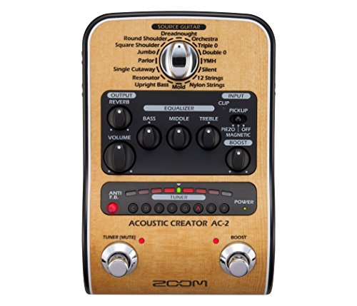 Zoom AC-2 Acoustic Creator, Acoustic DI with Tone Restoration, Tuner, Reverb, EQ, and Anti-Feedback