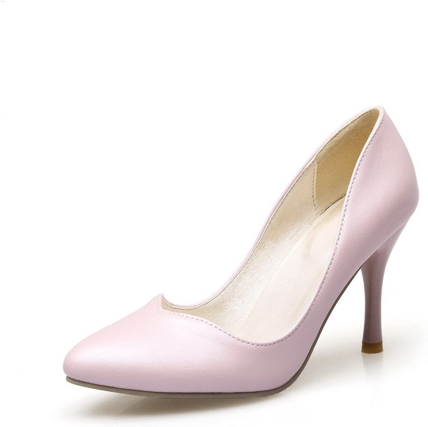 WeiPoot Women's Pull On Pointed Closed Toe Spikes Stilettos Pu Solid Pumps-shoes