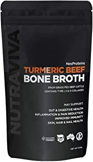 Turmeric Bone Broth Collagen Powder - Sourced from 100% AU Grass Fed, Pasture Raised Beef for Max Nutrition - No Preservatives, Additives, Paleo Friendly, Promotes Healthy Gut - Beef Bone Broth