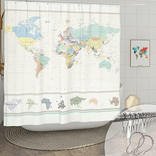 DESIHOM Weltkarte Duschvorhang mit 12 rostfreien Metallhaken, World Shower Curtain Vintage Geography Duschvorhang für Badezimmer Decor Polyester Wasserdicht Duschvorhang 183 x 183 cm