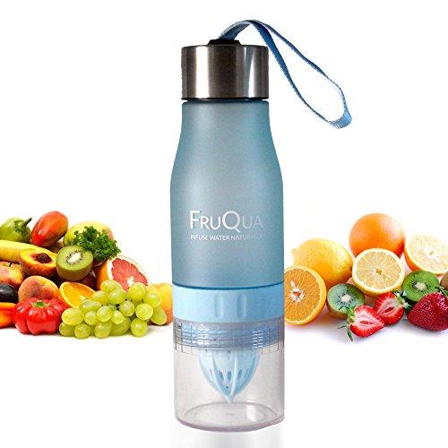 FruQua by Ayka Solutions - Botella de agua de tritan con infusor de frutas sin BPA, 650 ml - Incluye un libro electronico gratis con recetas de infusiones de frutas - Producto a prueba de fugas - Disponible en 7 vibrantes colores, hombre Infantil mujer, azul