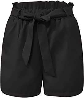 Selou Ladies Summer Solid Shorts Hollow Out Bow Shorts Women K4Black White Casual Festive Elegant Suit Striped Airy Business Outdoor Elastic Baggy Knee-Length Trousers